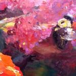 Bee and Butterfly Bush 8 x 10 oil on panel by Larkin Green