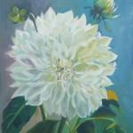 Giant White Dahlia 24 x 30 oil on canvas by Larkin Green