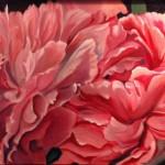 Honeysuckle Pink Peonies 24 x 30 oil on Linen by Larkin Green