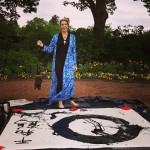 photo of Patricia Larkin Green at Morton Arboretum Big Brush Painting for Origami In the Garden