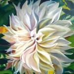 White Dahlia 16 x 20 oil on panel by Larkin Green