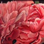 Honeysuckle Pink Peonies 24 x 30 oil on Linen by Larkin Green