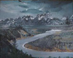 Mountain, River, Snake 24 x 30 oil painting by Patricia Larkin Green