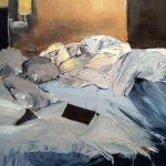 Unmade Bed Denver CO 16 x 20 oil painting on panel