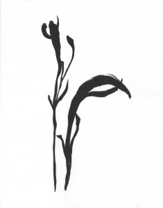 The Bow 24 x 18 Sumi-e Ink wash painting by Patricia Larkin Green