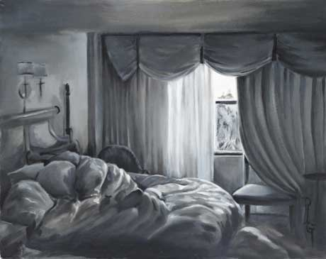 Unmade Bed Orlando 16 x 20 oil on panel by Patricia Larkin Green