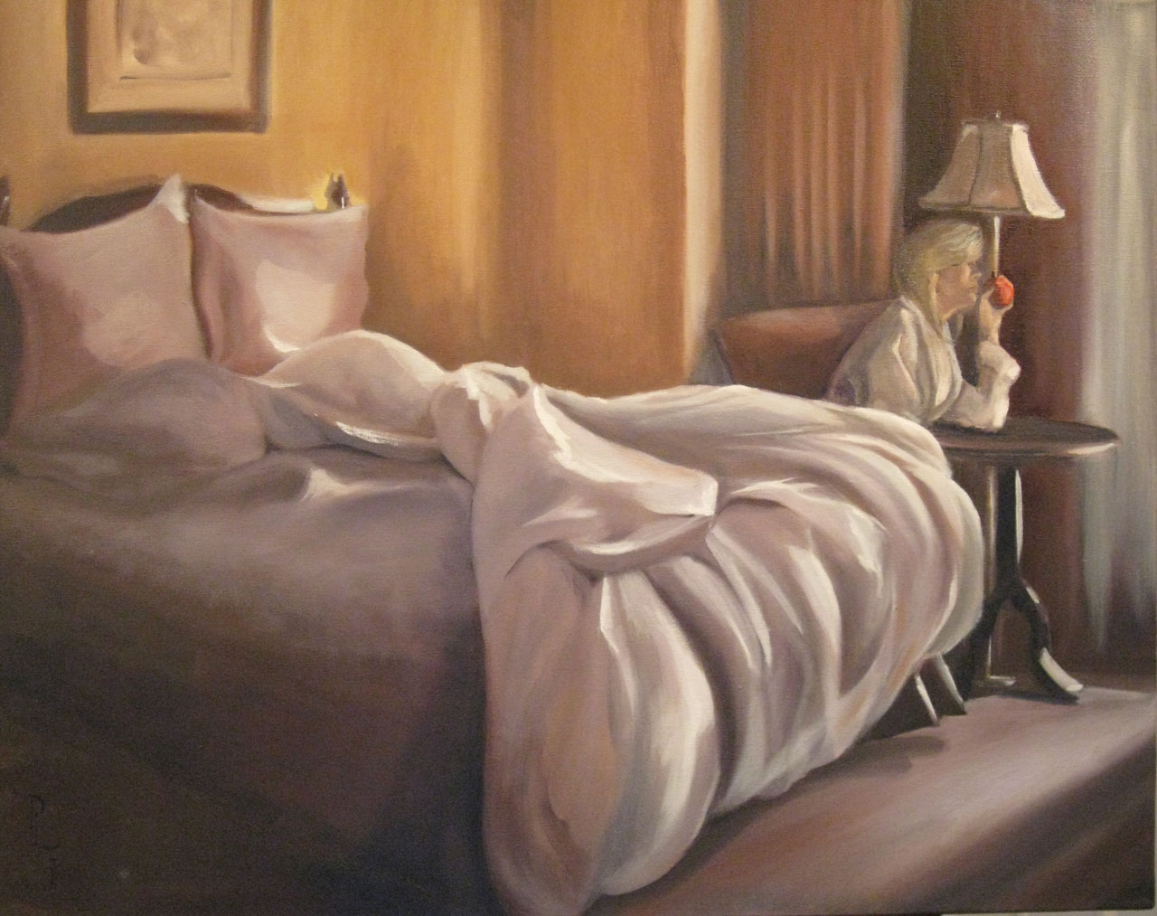 Unmade Bed 24 x 30 oil on Canvas by Patricia Larkin Green