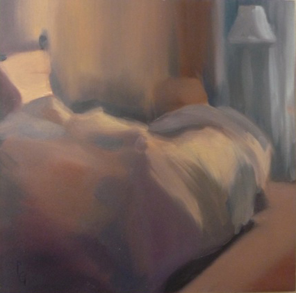 Unmaid Bed 12 x 12 oil on panel by Patricia Larkin Green SOLD