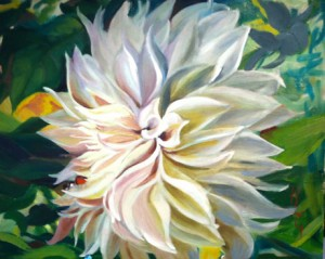 White Dahlia 16 x 20 oil on panel by Larkin Green