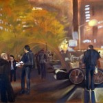 Zuccotti Park II Nov 9th 24 x 30 oil on panel by Patricia Larkin Green