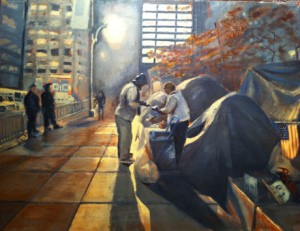 Zuccotti Park Nov 19th oil painting by Patricia Larkin Green