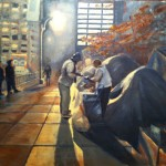 Zuccotti Park Nov 9th 24 x 24 oil on canvas by Patricia Larkin Green
