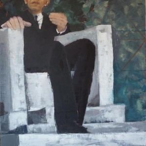 Meditation On Divine Will oil painting of barack Obama in Lincoln's chair by Patricia Larkin Green