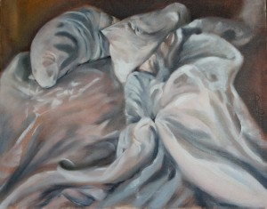 Unmade Bed Sofitel Mpls MN 16 x 20 oil on panel by Patricia Larkin Green