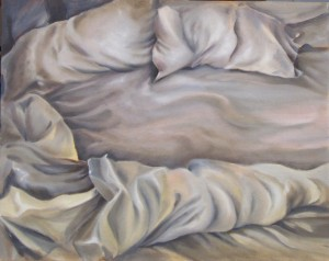 Unmade Bed Elysian16 x 20 oil on panel by Patricia Larkin Green