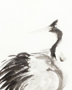 Crane Profile detail sumi-e Painting by Patricia Larkin Green