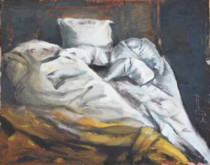 Millennium Hilton NYC Unmade Bed oil painting by Patricia Larkin Green