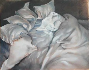 Unmade Bed The Muse NYC NY 16 x 20 oil on panel by Patricia Larkin Green