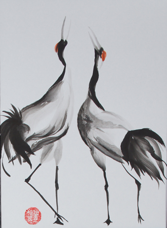 Japanese Cranes Mating Dance Sumi E Painting By Patricia