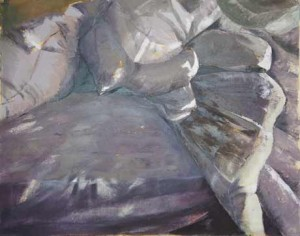 UnMade Bed-Mizzou oil on canvas 24 x 30 by Patricia Larkin Green