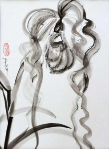 Dixler Orchid II 20 x 16 sumi-e painting by by Patricia Larkin Green