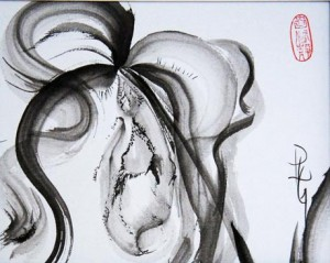 Dixler Orchid 20 x 16 sumi-e painting by by Patricia Larkin GreenHR
