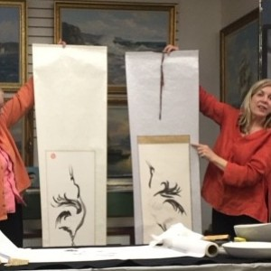 Artist Patricia Larkin Green demonstrates Asian Ink Painting