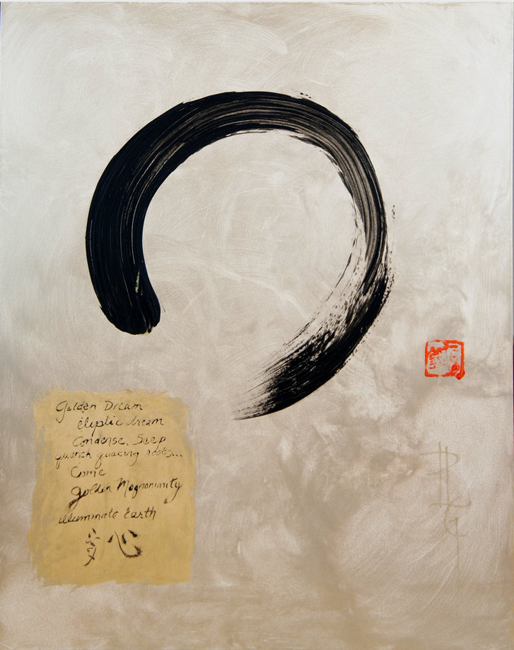 Painting for Auction: Golden Dream Enso 20 x 16 Oil Painting on Board By Patricia Larkin Green