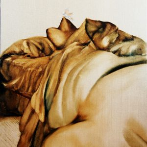 "UnMade Bed ""I dreamt I was a butterfly"" 20 x 16 oil painting on canvas By Patricia Larkin Green"
